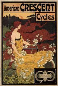 Vintage bicycle advertising poster - American Crescent